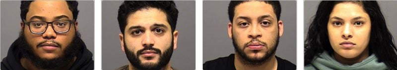 COURTESY CCSO - The four suspects arrested by Clackamas County sheriff's deputies are (from left): Anthony Quezada, Mickael Silvestre, John Paul Ortiz, and Naisha Urena
