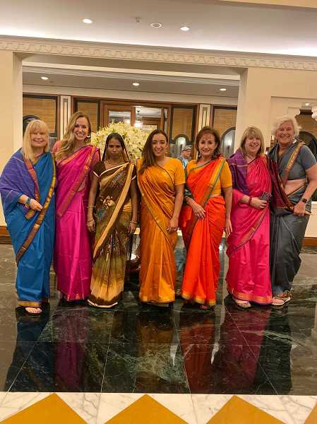 COURTESY PHOTOS: LORI FAREN - Lori Faren led a group of women in a trek to India where they were immersed in the culture and enjoyed yoga classes and more. Pictured here are some of the group including Faren, second from left, Erlin Taylor, fourth from left and Joan Robbins, far right.