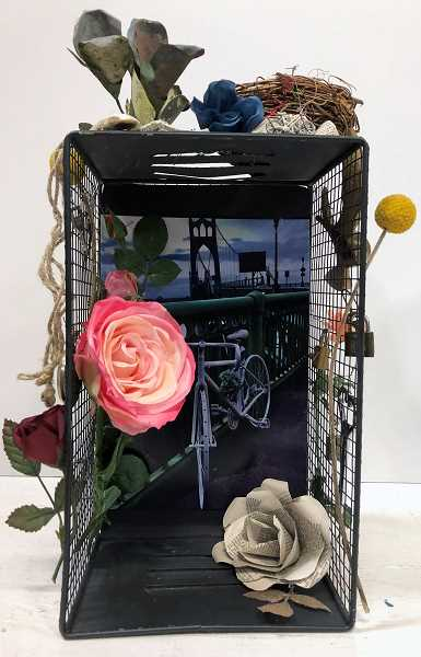 COURTESY PHOTO - Sarah Dooley of SCRAP PDX will lead a Drink & Draw event Jan. 23 for the Arts Council of Lake Oswego. Participants will make personal shrines like this of reused and recycled materials.