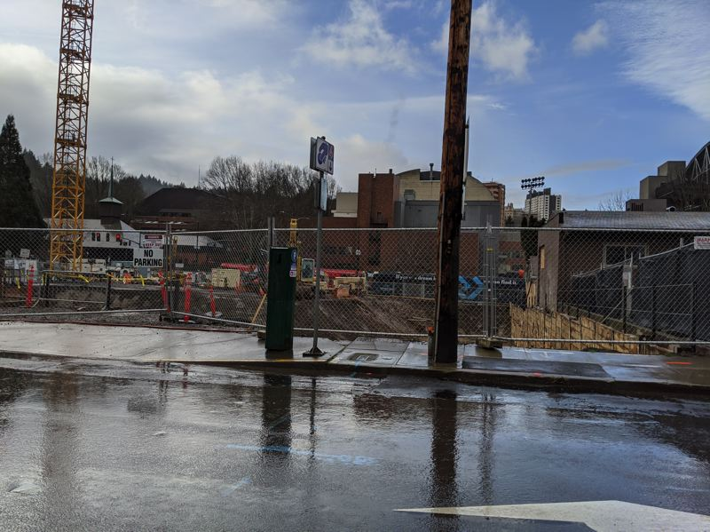 PMG: JOSEPH GALLIVAN - Foundations are going in for the eight-story mixed use tower at 1715 S.W. Salmon St.