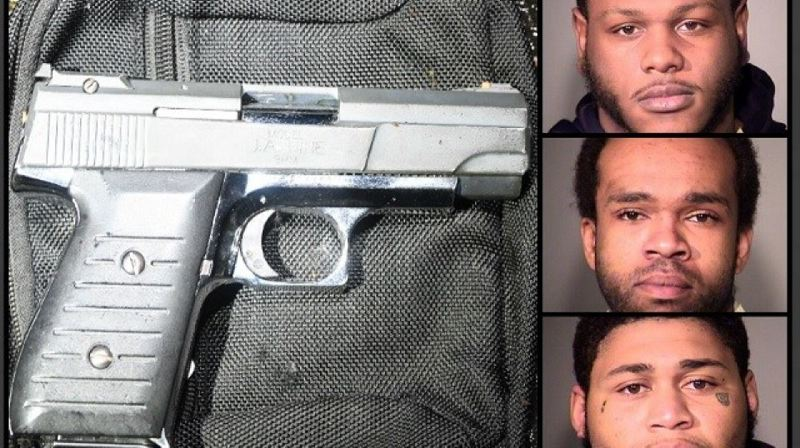 MCSO/KOIN 6 NEWS - The gun recovered at the shooting scene and, from top to bottom, Derrick Young, Damon McDonald, and Anthony Bagsby,