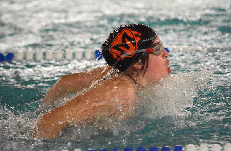 PMG PHOTO: DEREK WILEY - Lucia Martin Garcia won the 100-yard butterfly on Wednesday, Jan. 8 at the Molalla Aquatic Center.