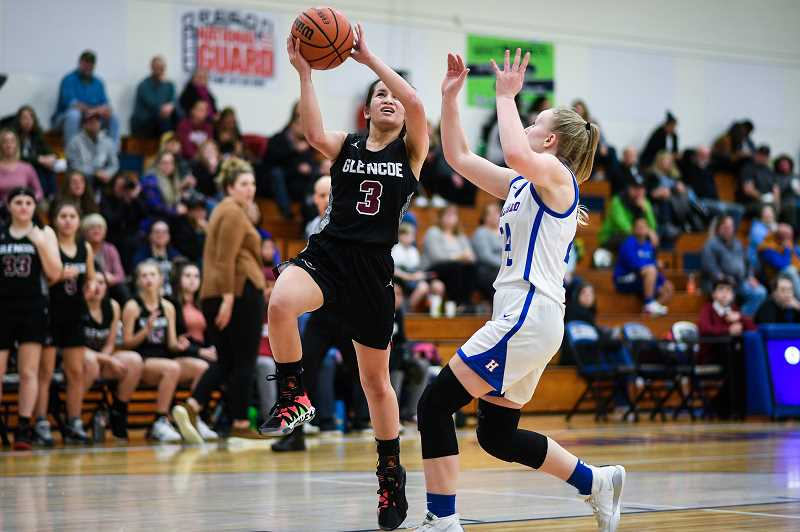 PMG PHOTO: CHRISTOPHER OERTELL - Glencoe's Skylar Baldonado goes up for a lay-in during the Tide's game against Hillsboro Wednesday night, Jan. 8, at Hillsboro High School.