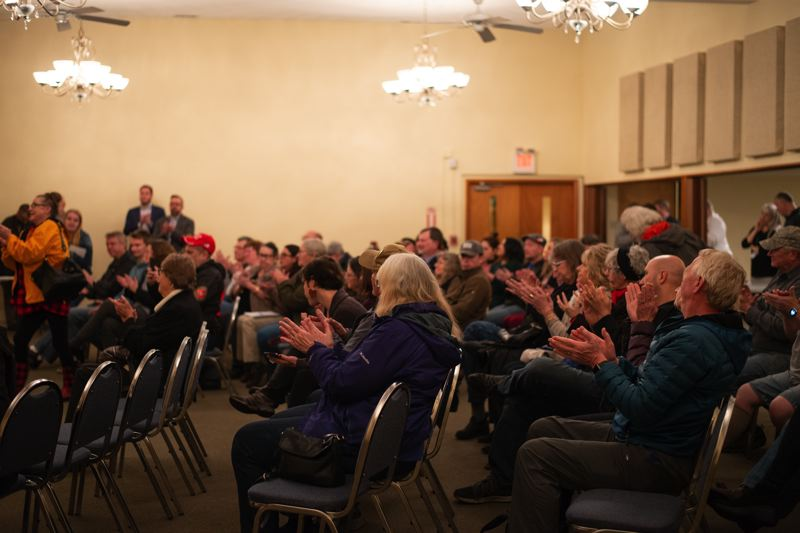 PMG PHOTO: ANNA DEL SAVIO - Approximately 60 people were in attendance at U.S. Sen. Ron Wyden's town hall in St. Helens on Jan. 2. Audience members asked questions and shared concerns from housing development and veterans services to impeachment.