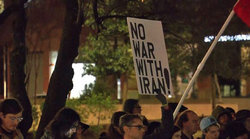 COURTESY PHOTO: KOIN 6 NEWS - More than 250 people gathered at Portland's Terry Schrunk Plaza on Friday, Jan. 3, in an anti-war demonstration in the wake of the U.S. airstrike in Baghdad that killed an Iranian general.