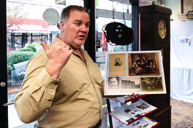 PMG PHOTO: CHRISTOPHER OERTELL - Dirk Knudsen, a board member of the Hillsboro Historical Society, recently worked with a group of local history enthusiasts to bring an antique desk he believes belonged to former Hillsboro mayor Dr. F.A. Bailey back to the city.