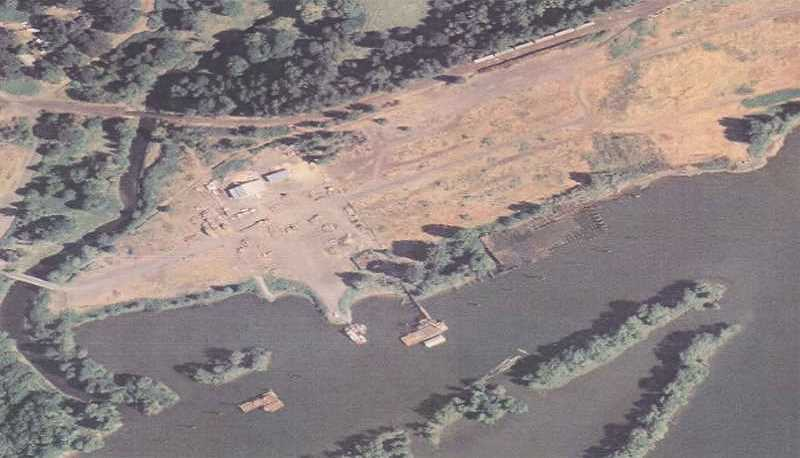 DEQ/PORT OF COLUMBIA COUNTY - An aerial shot shows the former Pope and Talbot wood-treating site, where creosote contamination requires a significant cleanup.