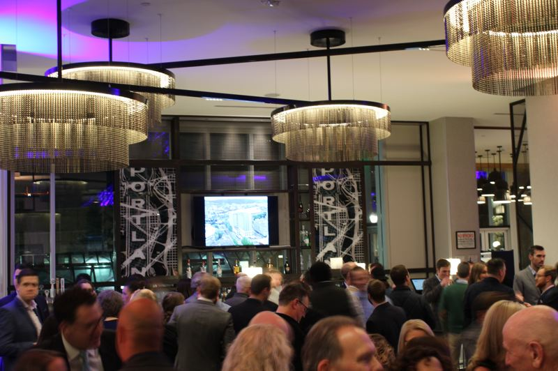 PMG: JOSEPH GALLIVAN - The lobby bar during the grand opening event for Portland's first convention center hotel, Hyatt Regency Portland at the Oregon Convention Center.