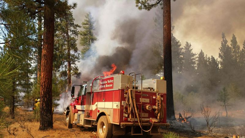 SUBMITTED PHOTO - A Tualatin Valley Fire & Rescue fighter snapped this photo of a TVF&R truck helping to battle fires in Warm Springs in 2015