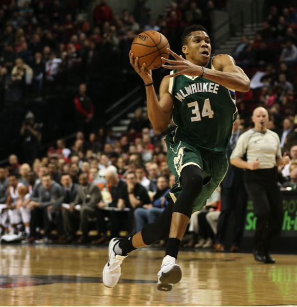 COURTESY FILE PHOTO: DAVID BLAIR - Giannis Antetokounmpo has led the Milwaukee Bucks to a 35-6 record this season, including a 122-101 victory at Portland on Saturday night.