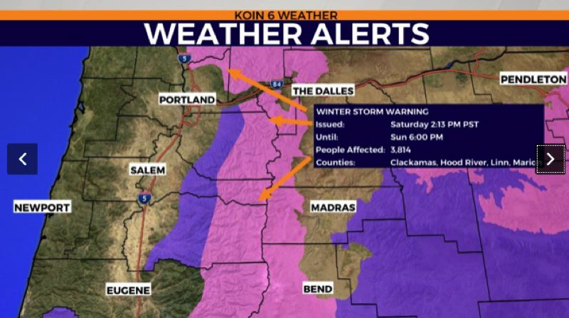 Snow now predicted to fall in Portland area