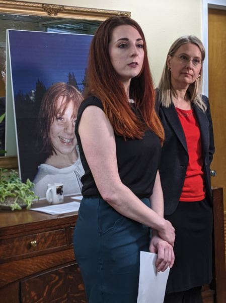 PMG PHOTO: COURTNEY VAUGHN - Kim Wilson speaks during a press conference Monday, Jan. 13. Wilson announced that she filed a civil lawsuit against her former school, Catlin Gabel School, over molestation she endured as a child there. Wilson was joined by her attorney,  Gilion Dumas.