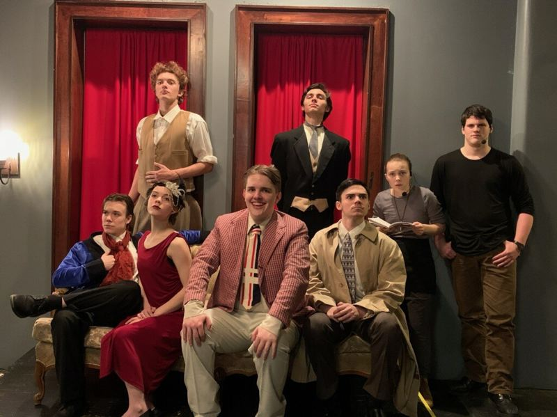COURTESY PHOTO: SALT ACADEMY - The cast of Murder at Haversham Manor pose in character during rehearsals for the British farce, which SALT Academy will present in two dinner theater performances this weekend.