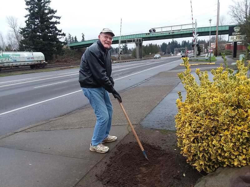 COURTESY PHOTO: CATHY RAE SMITH - Several members of the Canby Area Beautification group got together to plant crocus bulbs at two spots in Canby, with the anticipation of seeing some color this spring.