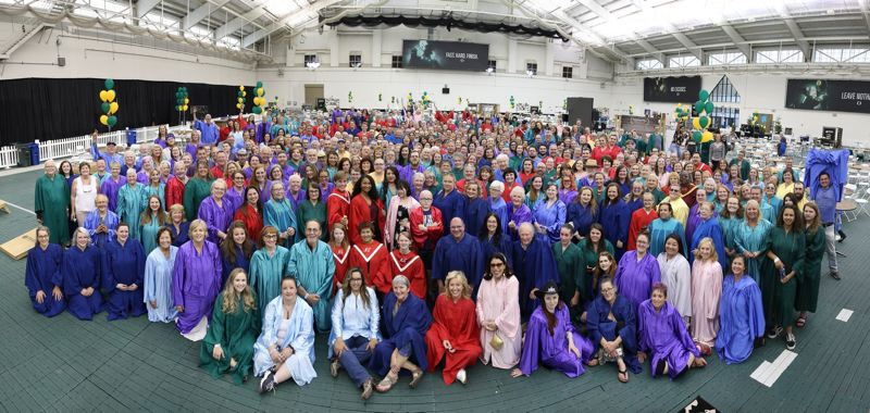 COURTESY PHOTO: GARTH BROOKS ORGANIZATION - The 800 member choir that backed up Garth Brooks at his summer concert in Eugene. They gave up their robes for the Walt Morey Middle School Choir.