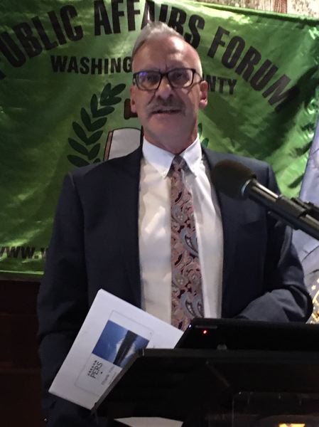 PMG PHOTO BY PETER WONG - Kevin Olineck, director of the Oregon Public Employees Retirement System, speaks Monday, Jan. 13, at Washington County Public Affairs Forum