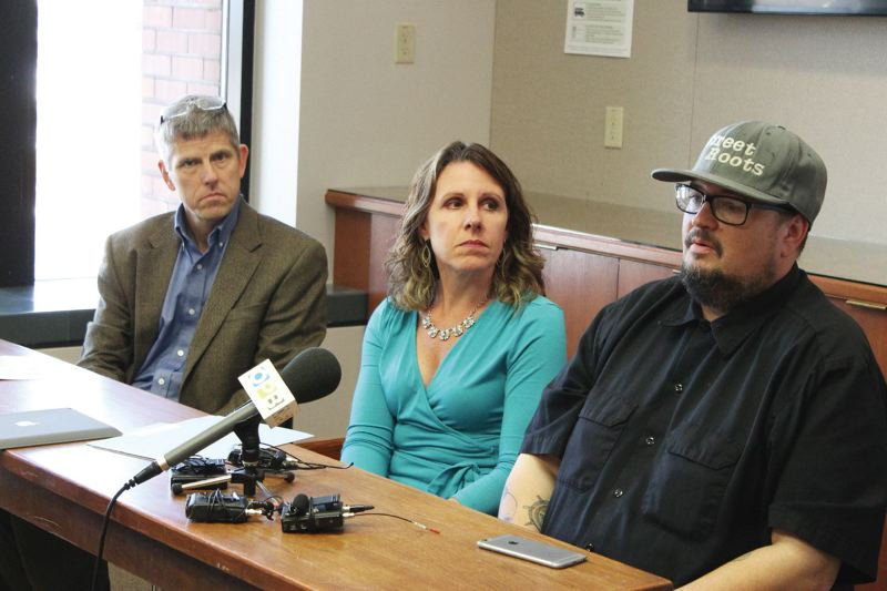 PORTLAND TRIBUNE: LYNDSEY HEWITT - Multnomah County health officer Dr. Paul Lewis, left, shown with Multnomah County Chair Deborah Kafoury, and Street Roots then-Director Israel Bayer in 2016.