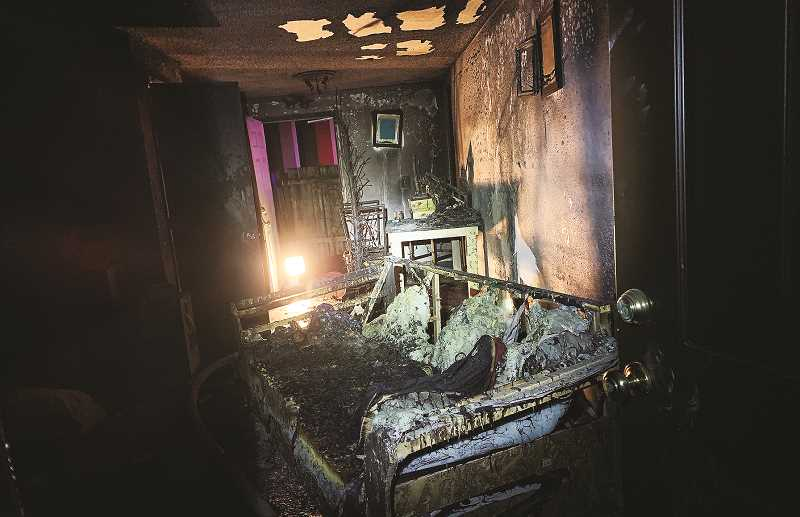 SUBMITTED PHOTO - Little remains of the River Street apartment that took flame on Jan. 7, forcing the inhabitants to flee for their lives.