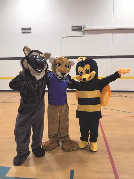 COURTESY PHOTO: GERVAIS SCHOOL DISTRICT - The three mascots were unveiled to students in December and are designed to help tie the three nearby schools together and help foster school spirit and pride amongst its student body.