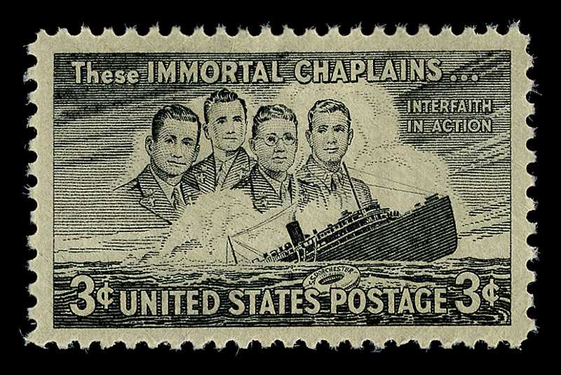 COURTESY PHOTO - Honored on a U.S. stamp are Methodist minister George L. Fox, Rabbi Alexander B. Goode, Reformed Church in America minister Clark V. Poling and Catholic priest John P. Washington.