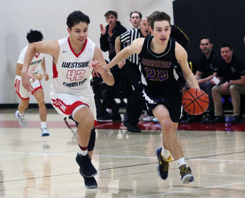 PMG PHOTO: DAN BROOD - Horizon Christian senior Marcus Stetzel (right) and Westside Christian senior D.L. Scales race to the basket during Saturday's league game. The Eagles won 60-32.