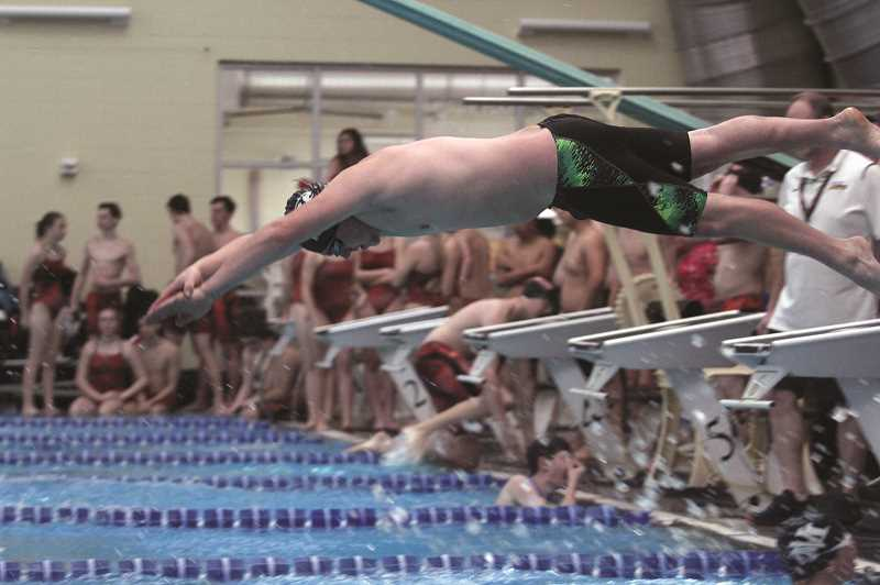 PMG PHOTO: PHIL HAWKINS - North Marions Ben Netter dives in as the third leg of the Huskies 7th-place 200-yard medley relay team. Netter went on to take home a pair of top-10 finishes, placing ninth in the 200-yard medley and 10th in the 100-yard butterfly.
