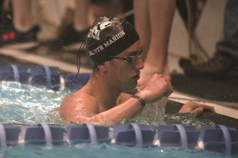PMG PHOTO: PHIL HAWKINS - North Marion senior Lucas Toth took home second-place in the 100-yard butterfly and third in the 100-yard freestyle in addition to contributing to a pair of top-seven finishes in the relays.