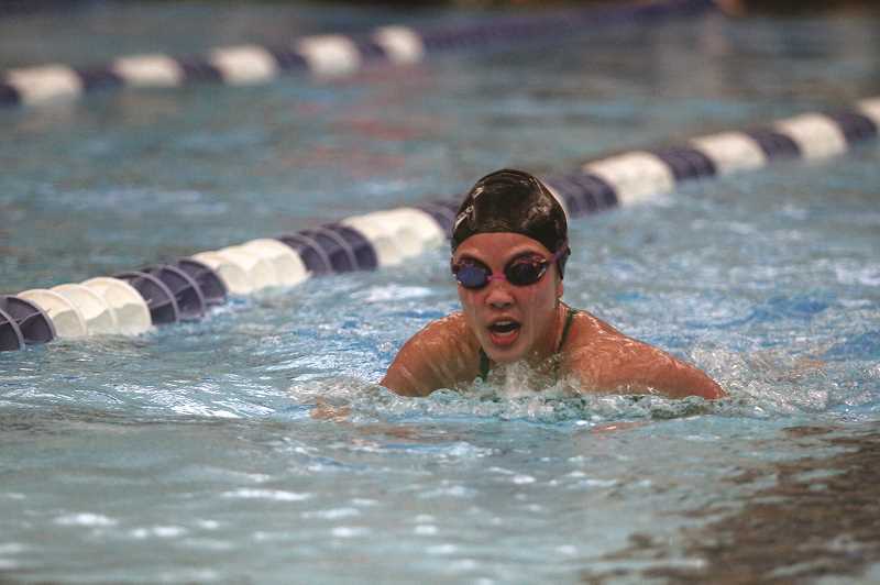 PMG PHOTO: PHIL HAWKINS - North Marion's Kailee Jones teamed with Alexia Hall, Sofia Vachter and Marissa Colby for a sixth-place finish in the 200-yard freestyle relay, the top placement for the girls team at the Blanchet Invitational.