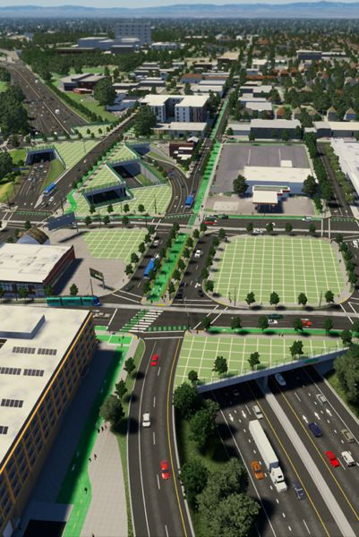 COURTESY ODOT - ODOT rendering of finished project shows freeway caps to better connect the Lloyd District and more.