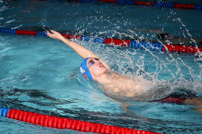 STEELE HAUGEN - Karson Hartman, a junior for Madras claimed silver in the 100 yard backstroke with a time of 1:07.69. He was bested by Andrew Williams, of Pendleton (1:04.04).