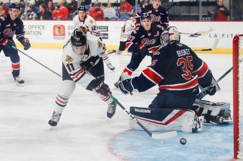 COURTESY PHOTO: KEITH DWIGGINS/PORTLAND WINTERHAWKS - Robbie Fromm-Delorm's goal 36 seconds into the game started the Winterhawks on their way to Tuesday's win over Regina.