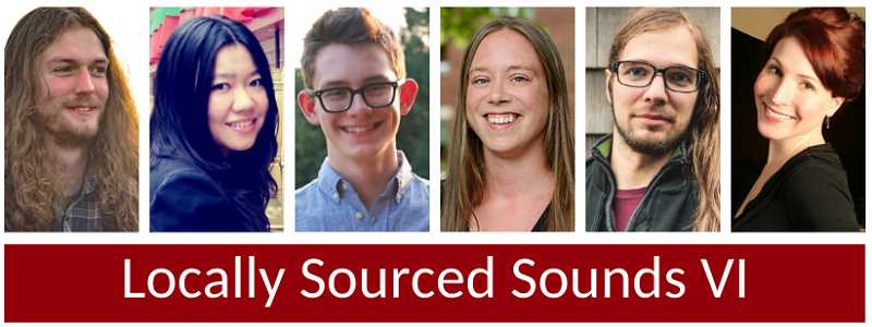 COURTESY PHOTO  - The composers featured in Fear No Musics Locally Sourced Sounds VI include from left Allen Skirvin, Li Tao, Jake Safirstein, Kirsten Volness, Nicholas Emerson and Jennifer Wright.