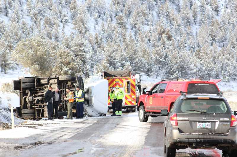 Icy roads was cause of armored truck rollover