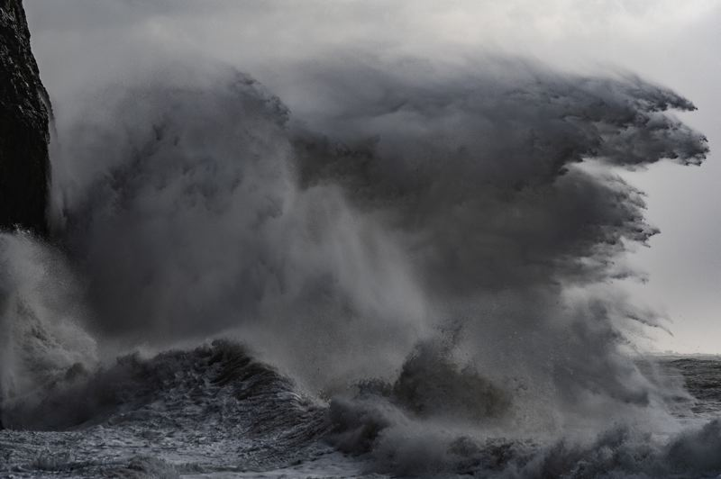 PMG PHOTO: KEITH SHEFFIELD - A massive wave hit Cape Disappointment Jan. 11 and 12 as King tides pushed big waves to the Oregon and Washington coasts.