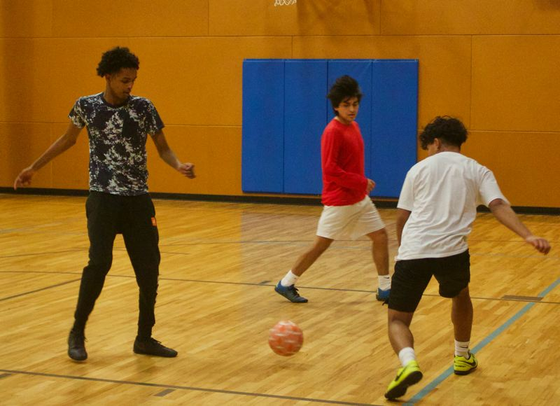 PMG PHOTO: CHRISTOPHER KEIZUR - Students from Centennial, Reynolds and David Douglas high schools make up the majority of Sunday Futsal participants.