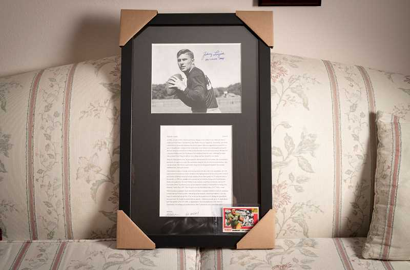 PMG PHOTO: JAIME VALDEZ - After Jake Walsh lost a prized letter from Heisman Trophy winner Johnny Lujack, Waslsh received another letter from his idol, now 95 years old.