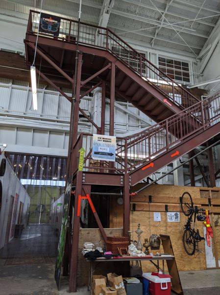PMG PHOTO: JONATHAN HOUSE - The steel staircase that Unkeles had to install to provide a second access to the upper level of NW Marine Art Works. Unkeles was annoyed that it cost him $20,000 in city charges, and that the staircase cost as much as he paid for all 15 buildings in 1992.