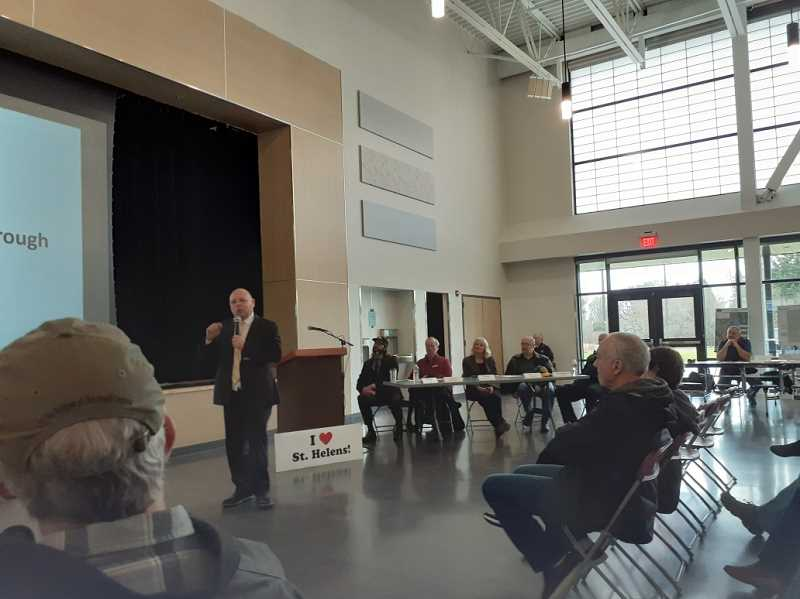 PMG PHOTO: MARK KIRCHMEIER - St. Helens School District Superintendent Scot Stockwell addresses the roughly 50 people who showed up at the State of the City meeting held Saturday morning, Jan. 14, at the new St. Helens Middle School.