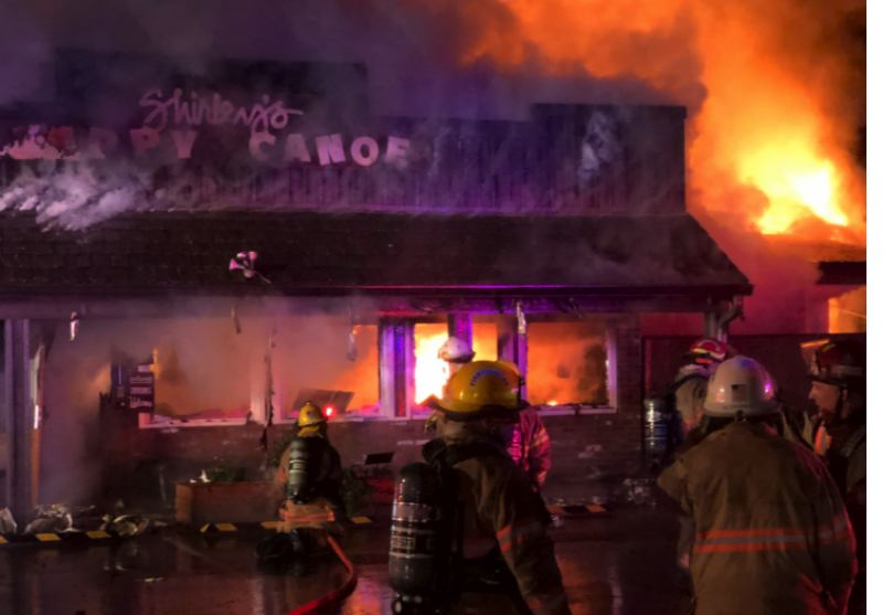 COURTESY PHOTO: GRESHAM FIRE DEPARTMENT - Gresham firefighters assisted Corbett firefighters on scene of the fire at Shirley's Tippy Canoe.