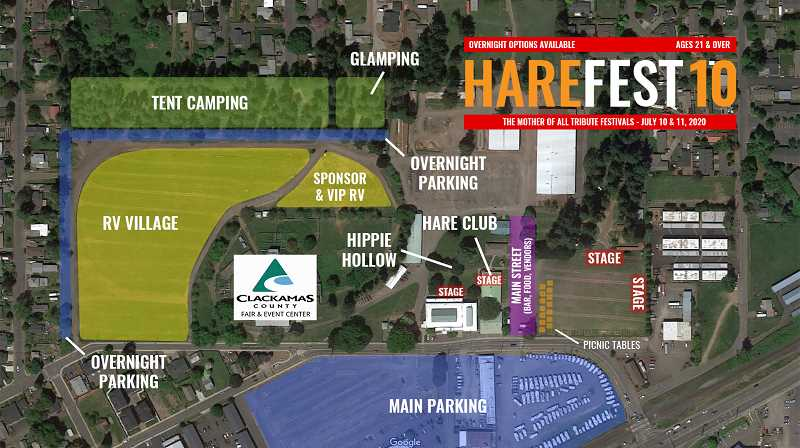 COURTESY PHOTO: HAREFEST - Pictured is the planned layout for Harefest 10, moving this year to the Clackamas County Fairgrounds and Event Center in Canby.