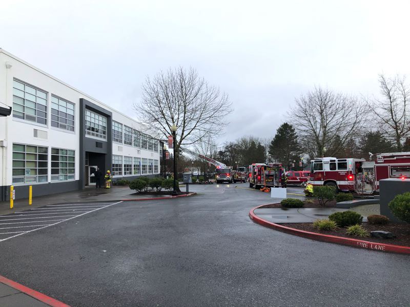 SUBMITTED PHOTO - A fire broke out during basketball practice at Beaverton High School on Saturday, Jan. 18.