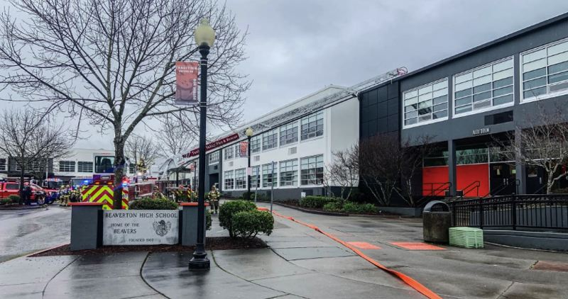 SUBMITTED PHOTO - Classes at Beaverton High School were cancelled for Tuesday, Jan. 21 following a blaze at Beaverton High School on Saturday.