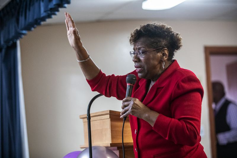 PMG PHOTO: JONATHAN HOUSE - Former State Senator Margaret Carter makes an impassioned appeal during the Salute to Greatness Awards at the Vancouver Avenue First Baptist Church.