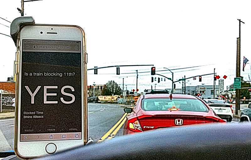 PAIGE WALLACE - A new website warns drivers when a freight train blocks the railroad crossings near S.E. Division Street. You get a simple yes or no, and theres a counter showing how long the crossing has been blocked. DevelopmentNow, based at the intersection, created the website.