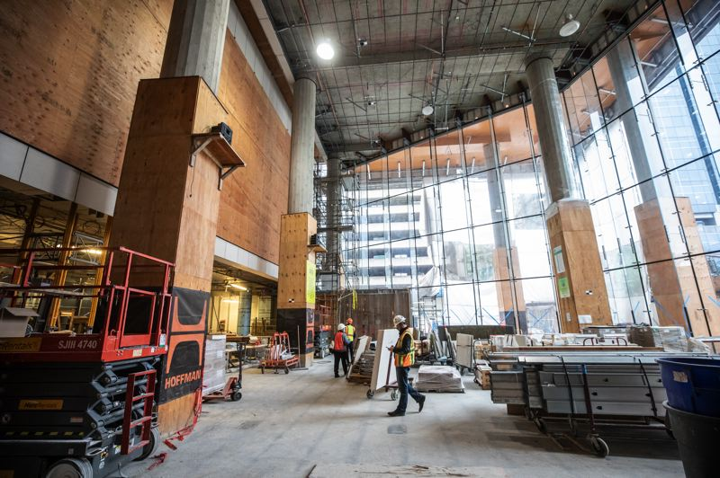 PMG PHOTO: JONATHAN HOUSE - The entry area and lobby of the new Multnomah County Central Courthouse in downtown Portland.