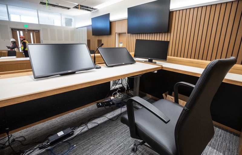 PMG PHOTO: JONATHAN HOUSE - Courtrooms in the new courthouse feature special acoustic treatments and white oak paneling.