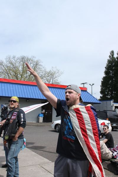 PMG FILE PHOTO - Now facing trial for the Trimet killings of May 26, 2017, Jeremy Christian's lawyers say he expressed his passion for freedom of speech by using it to provoke reactions. Here, he gives a Nazi salute at a protest in April 2017.