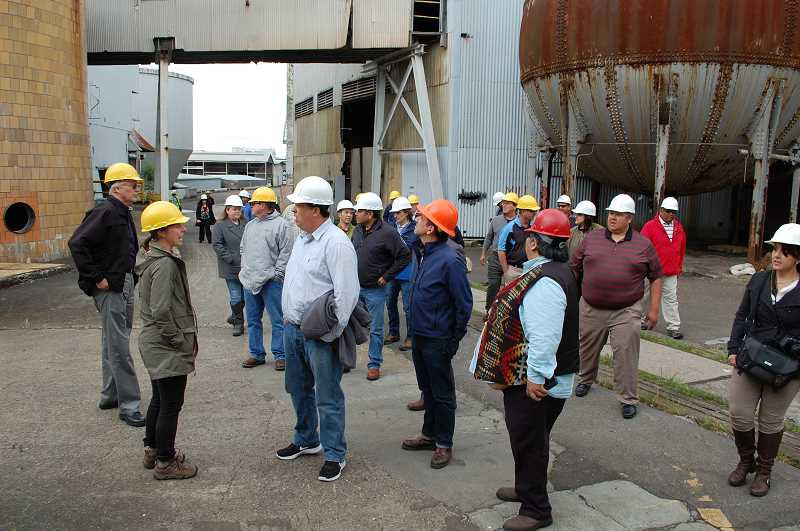 2016 PMG FILE PHOTO: RAYMOND RENDLEMAN - Columbia River Inter-Tribal Fish Commission leaders tour the former Blue Heron Paper Co. mill, a site of longtime cultural importance at Willamette Falls in Oregon City.