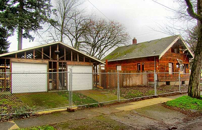 ERIC NORBERG - As described in the accompanying article, deconstruction is already underway on the property at 5105 S.E. Woodstock Boulevard, where one house will be replaced with 28 studio apartments.