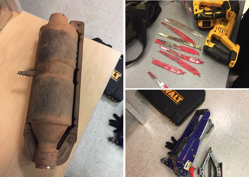 PPB PHOTOS - The catalytic converter that was stolen, left, and tools and a jack used in the incident are shown here, according to police.